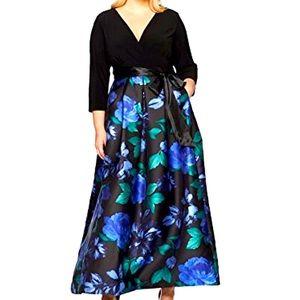 FLORAL DRESS 16W BLUE BLACK LONG SLEEVE V NECK New